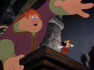Willie catching Mickey and telling him - ¡Oh no you don't you can't get away from Willie!