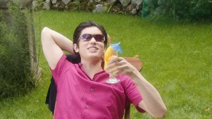 Kuroto pink shirt and smoothie