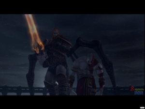 Ares about to slay Kratos