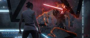 Rey Kylo fight gantry