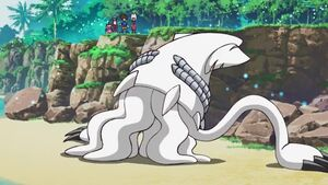 Gesomon jumped back into the sand from the water