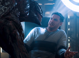 Edward Brock (Earth-TRN688), Carlton Drake (Earth-TRN688) and Riot (Klyntar) (Earth-TRN688) from Venom (film) 001