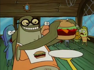 Bubble Bass Evilly Holding Patty