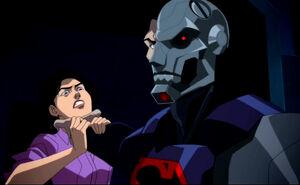 Cyborg Superman choking Lois Lane