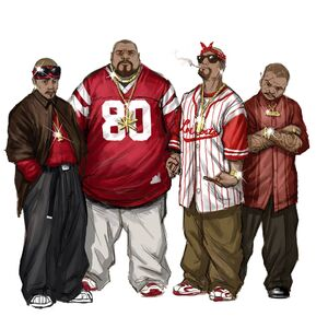 Los Carnales Concept Art - four gang members