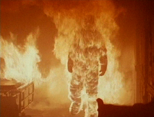Michael Myers engulfed in flames after Dr. Loomis had caused an explosion at the hospital