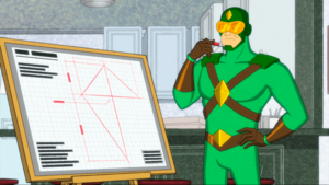 Kite Man designing a kite
