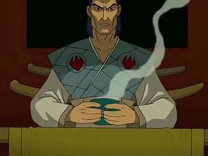 Oroku Saki having hot tea