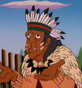 The Medicine Man pleading with Powhatan before he is banished
