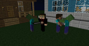 Minecraft two people fighting zombies by nesphext d5wsaod-fullview