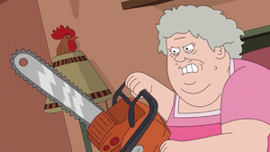 Mrs. Two-Toes Has a Chainsaw
