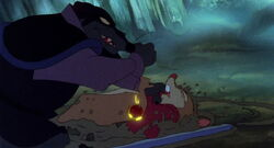 Jenner attacking Mrs. Brisby for the necklace