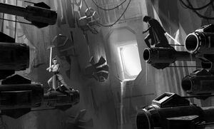 Rey and Kylo fight inside the Death Star ruins by Adam Brockbank