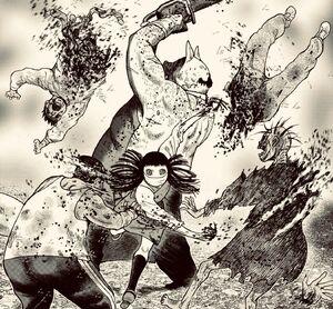 Kaoru and Mari killing zombies