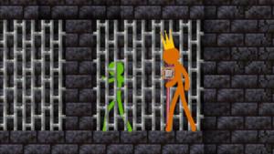 Orange imprisons green