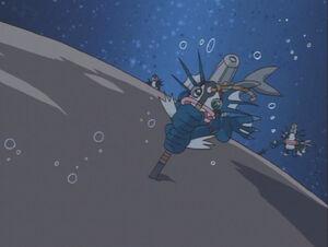 Divermon grabbed Whamon with a harpoon