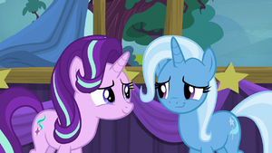 Trixie gives a touched half-smile S6E6