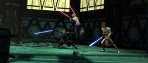 Ventress leaping Jedi