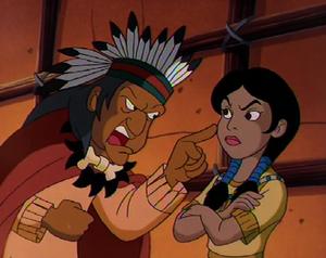 The Medicine Man yelling at Pocahontas