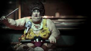 Darlene Fleischermacher as the Gluttonous Psychopath