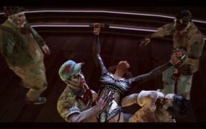 Bibi throwing herself into zombie crowd