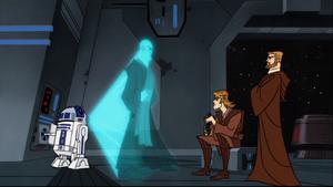 Anakin Skywalker Windu hologram