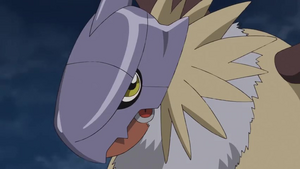 Gryphonmon (MetalGarumon took a hit)