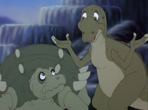 Nod and Mutt argue about how to rescue Hyp from the tar pit.jpg
