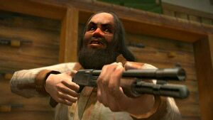 Cletus aiming weapon at James and Frank