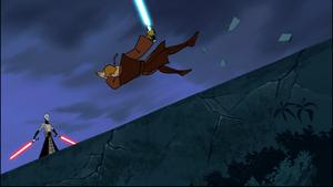 Ventress knocks Skywalker