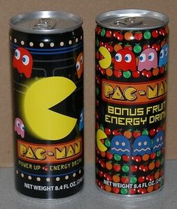 Pac-Man Power Up Energy Drink and Pac-Man Bonus Fruit Energy Drink