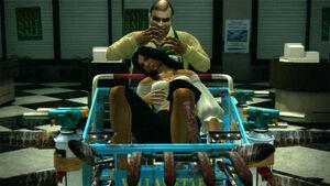 Steven holding Isabela as a hostage