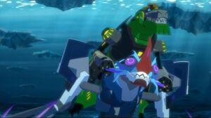 Grimlock fight against Crustacion