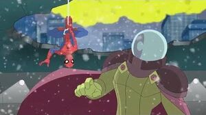 Spectacular Spider-Man (2008) Mysterio attacks Oscorp