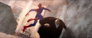Kingpin and Spider-Man fighting in flashback