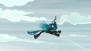 Chrysalis flying through mountain sky S9E8