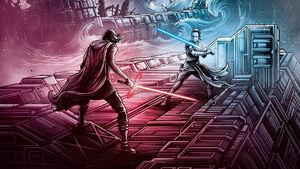 Star wars the rise of skywalker poster kylo ren vs rey