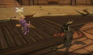 Cynder against Spyro