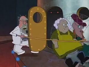 Cruel Vet shoving Muriel and Eustace into rocket