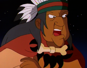 The Medicine Man vowing revenge on Pocahontas