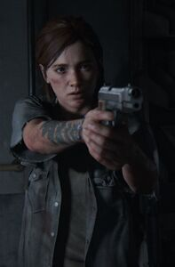 Ellie aiming her Gun 2