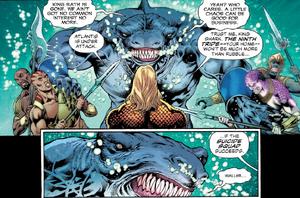 Aquaman ask help King Shark once again.