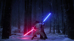 Kylo and Rey fight Starkiller Base