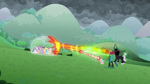 Villains blasting the shielded ponies S9E25
