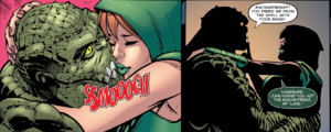 Killer Croc and June Moone kiss
