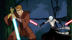 Anakin Skywalker Ventress behind