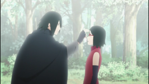 Sasuke pokes Sarada