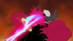 Tirek's face being shot by laser beam S4E26