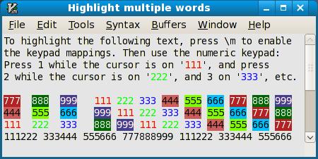 Sample highlighting of words