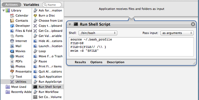 Creating an Application in automator
